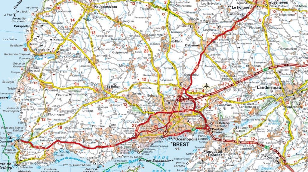 carte routiere nord finistere -